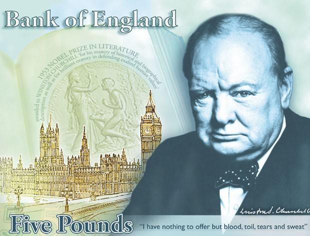 Churchill será homenageado em nova nota de 5 libras