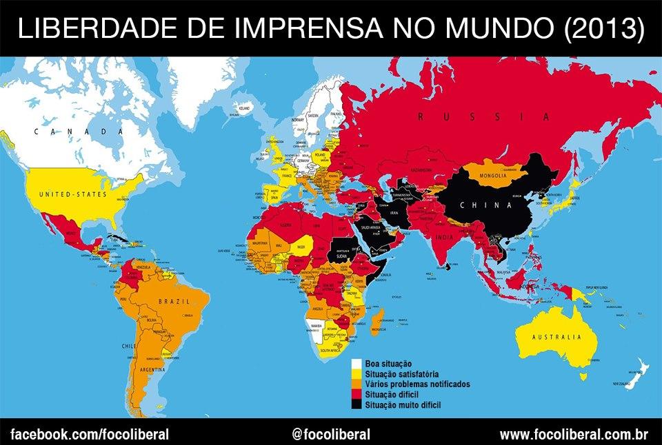 O Brasil passou da 99ª posição em 2012 para a 108ª posição no ranking de liberdade de imprensa, que é composta por 179 países.