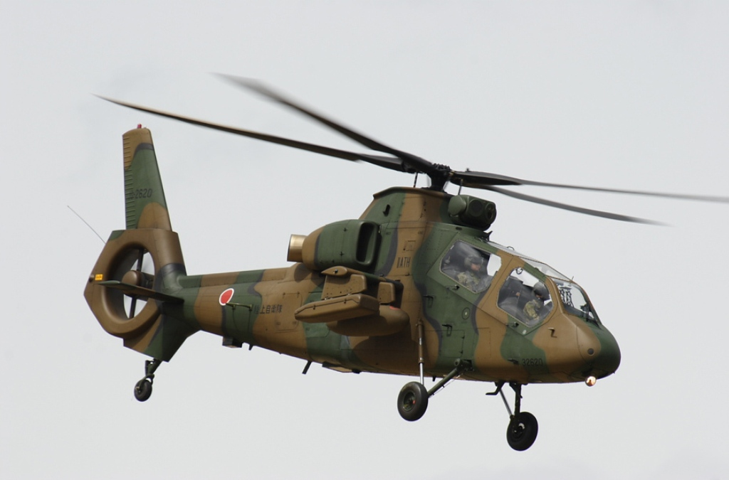 Kawasaki OH-1 ( Ninja) light military reconnaissance helicopter Japan Ground Self-Defense Force, Military Attack Helicopters gunship OH-6 Loach Agustaexport AT129 Mangusta AH-1 SuperCobra Boeing AH-64 Apache  (1)