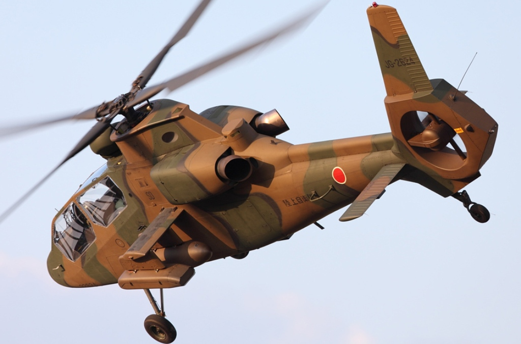 Kawasaki OH-1 ( Ninja) light military reconnaissance helicopter Japan Ground Self-Defense Force, Military Attack Helicopters gunship OH-6 Loach Agustaexport AT129 Mangusta AH-1 SuperCobra Boeing AH-64 Apache  (3)