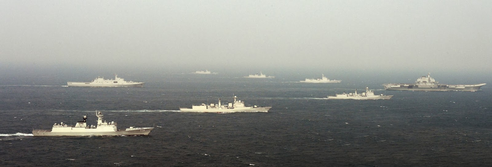 Chinese Carrier Battle Group (CVBG) FormationLiaoning escort group 4 incl. subs Type 052D Guided Missile Destroyer, Type 052C , Peoples Liberation Army Navy 5 Type 052C Type 052D destroyers (6)
