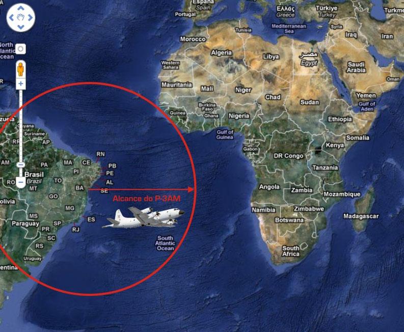 No gráfico feito a partir do Google Earth, o raio de ação do P-3AM da FAB, de 2.070 milhas ou cerca de 3.835km.