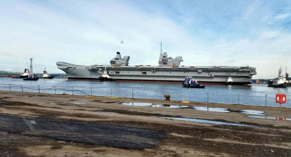 Britain's Queen Elizabeth aircraft carrier out of the docks for first time 5