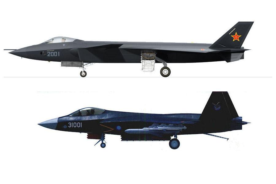 Os únicos protótipos de caças chineses reconhecidos são o J-20 e J-31.