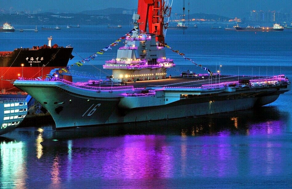 Images of the day Chinese People's Liberation Army (PLAN) Liaoning aircraft carrier under sunset (2)