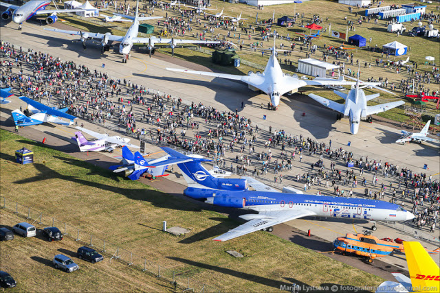 Aerial view of Russian MAKS-2015 air show 12