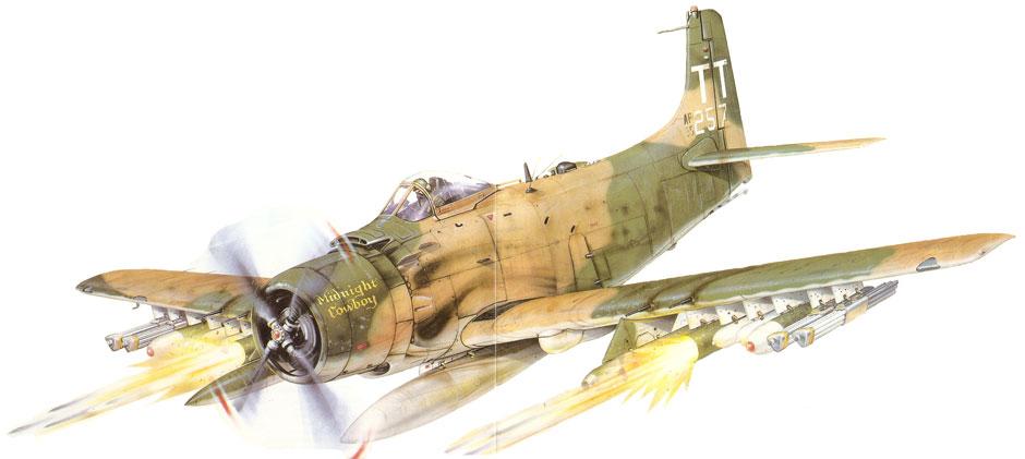 Douglas-A-1H-Skyraider-USAF-56th-SOW-1st-SOS-Midnight-Cowboy-Richard-Drury-Nakhon-Phanom-RTAFB-Thailand-1970