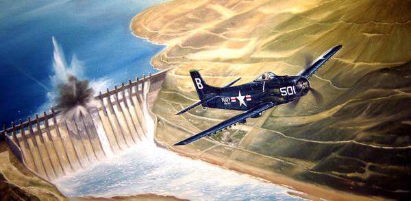 Skyraiders da Marinha dos EUA atacam com torpedos a represa de Hwachon