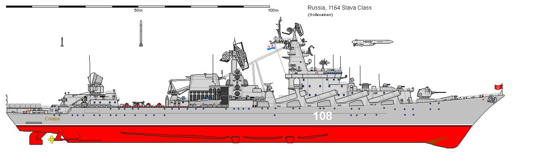 Acima: Os navios da classe Slava devem permanecer por muitos anos na ativa ainda. Seu grande poder de fogo lhe permite ser respeitado pelo inimigo, mesmo mais moderno.