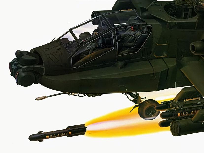 Um míssil AGM-114 Hellfire disparado por um helicóptero de ataque Apache AH-64D. O Hellfire Míssil pesa 45 kg, tem 1,63 m e seu custo unitário fica em torno de US$ 68 mil