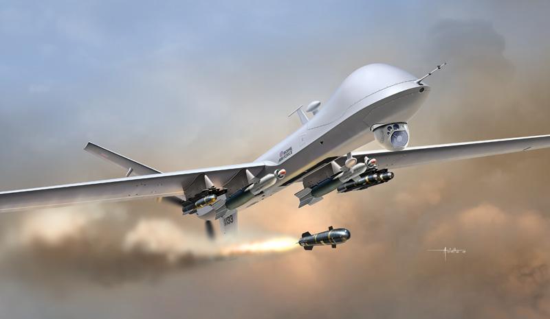 Um Reaper da RAF completamente armado dispara um míssil Hellfire