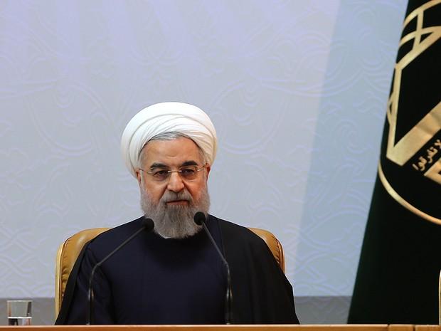 O presidente do Irã, Hassan Rohani, durante discurso realizado neste domingo (27) (Foto: Iranian presidency/AFP)