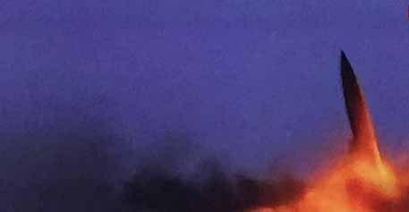 Míssil balístico tático Tochka, no momento do seu lançamento por forças iemenitas. Foto: Asia Defense News.