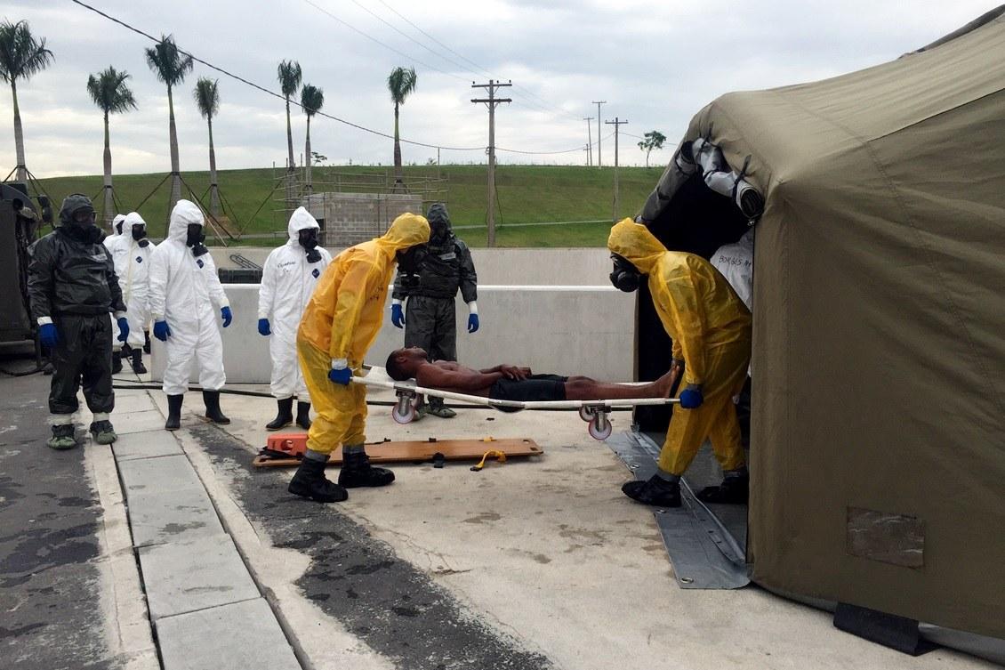 Simulação de incidente com agente químico com múltiplas vítimas. Foto: Carol Delmazo/Brasil2016.gov.br