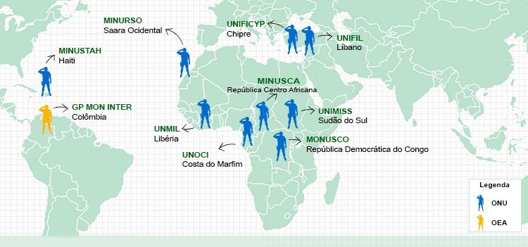 nfográfico das missões de paz Brasileiras em andamento.