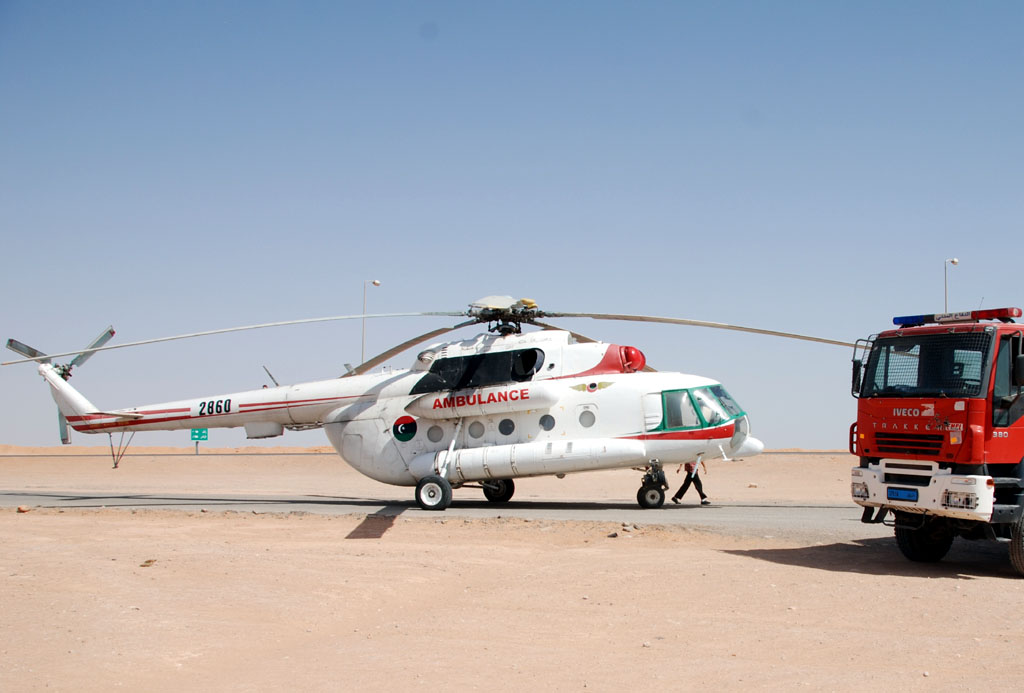 Helicóptero de uso geral Mil Mi-17 em sua versão ambulância operada pela Líbia Foto: Military in the Middle East