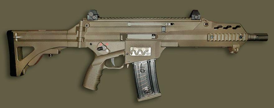 Acima: A versão carabina do FX-05. As novas versões do FX-05 terão incorporados a capacidade de rajadas curtas (3 tiros) em sua seleção de tiro.