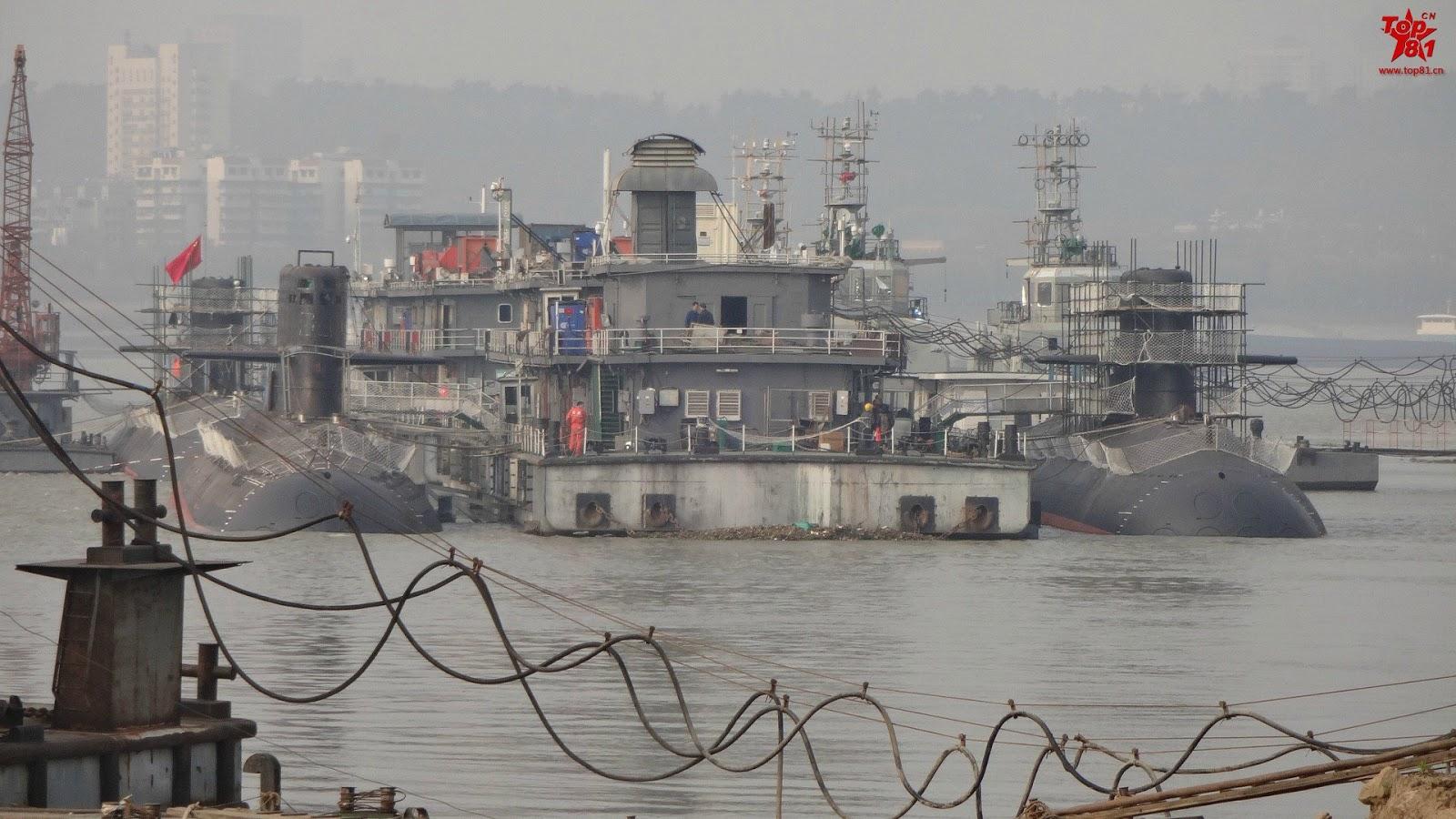 GALERIA: Indústria chinesa trabalha no acabamento de mais três submarinos de ataque classe Yuan