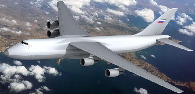 """Tsagi apresneta modelo enviado para testes de túnel do vento do gigante """"SLON"""" sucessor dos AN-124"""
