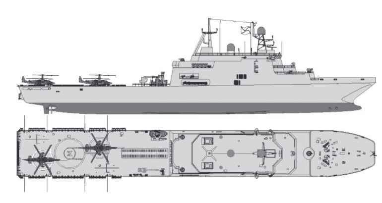 Estaleiro Yantar revela detalhes do navio de transporte de carros de combate baseado na classe Ivan Gren